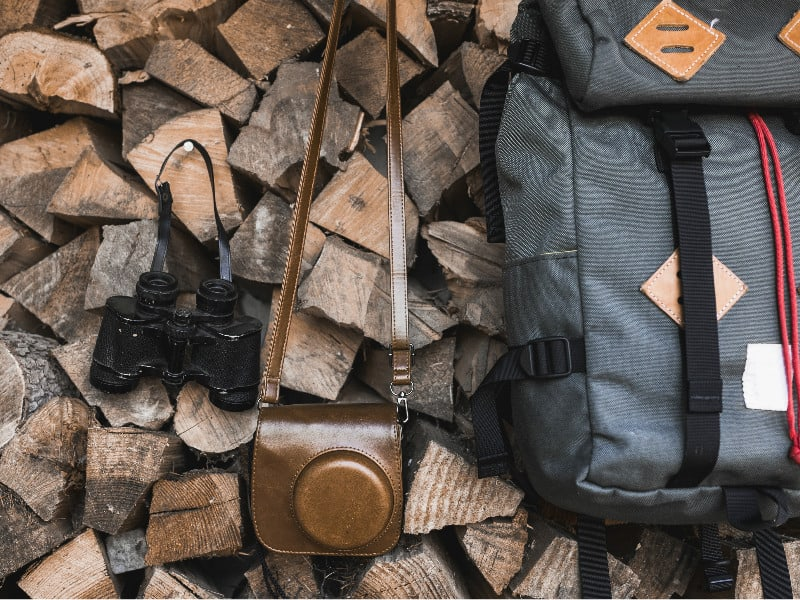 travel backpack camera and binoculars