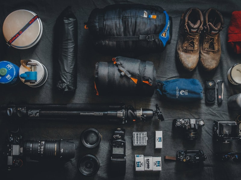 photo equipment and hiking stuff