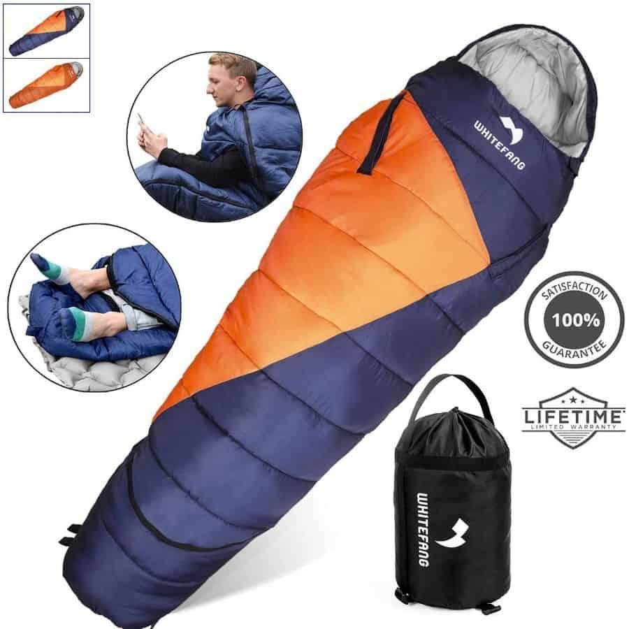 0 Degree Sleeping Bag Adults Mummy Hiking Outdoor Survival Camping 20F 4 Seasons