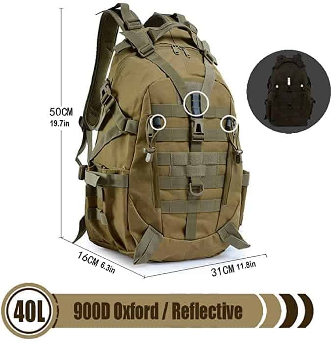 LHI Tactical Backpack 900D with Reflector 40L for Daily Use Outdoor Activities 1
