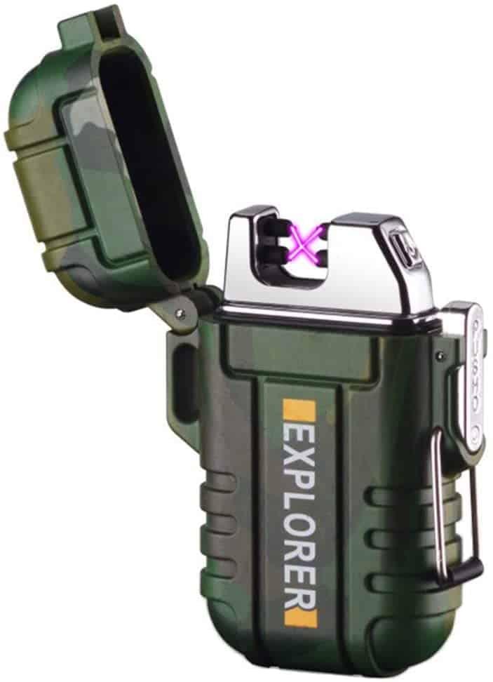 lcfun Waterproof Lighter Outdoor Windproof Lighter Dual Arc Lighter Electric Lighters