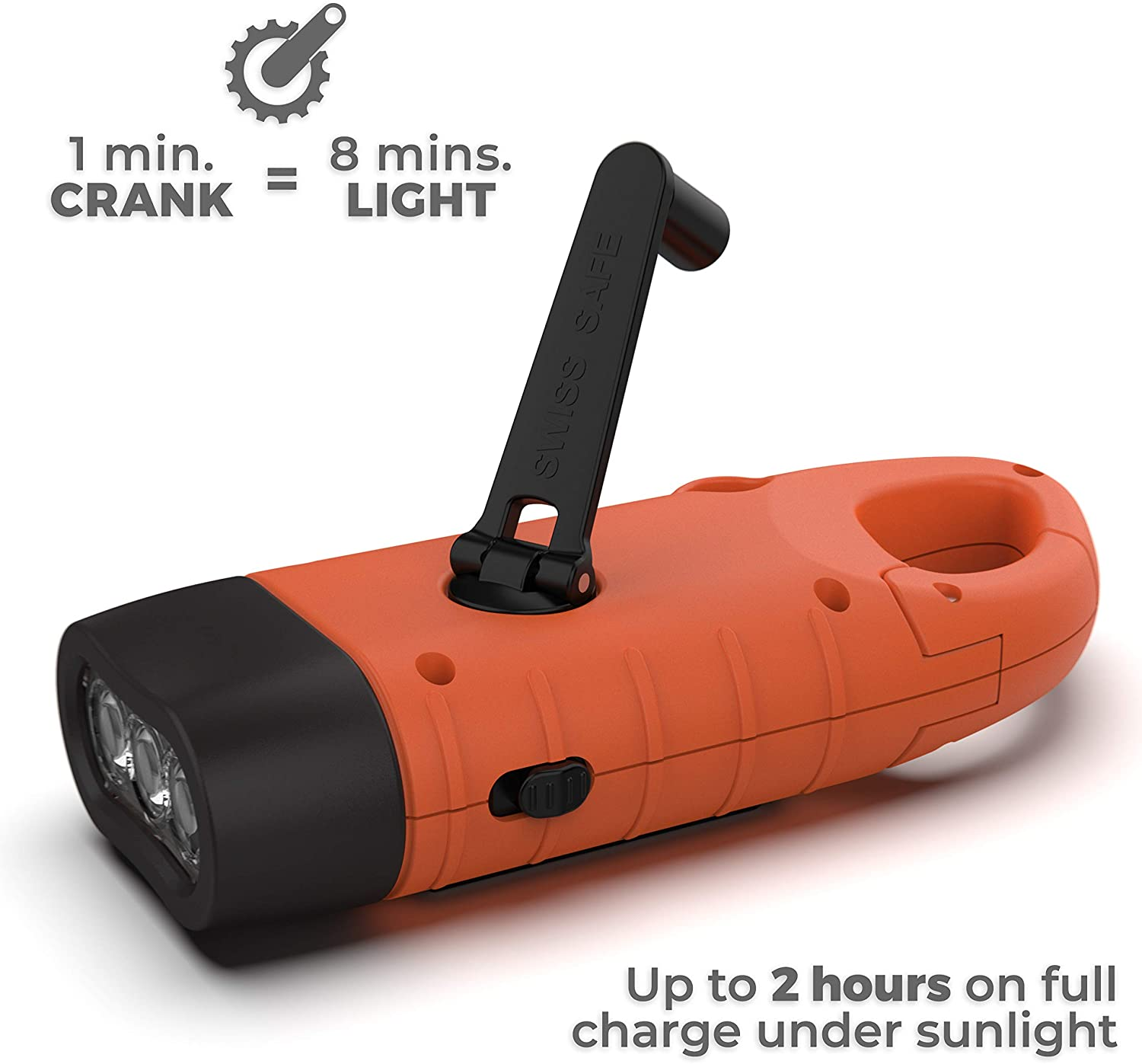 swiss safe Rechargeable Flashlight with Solar Power & Hand Crank 3