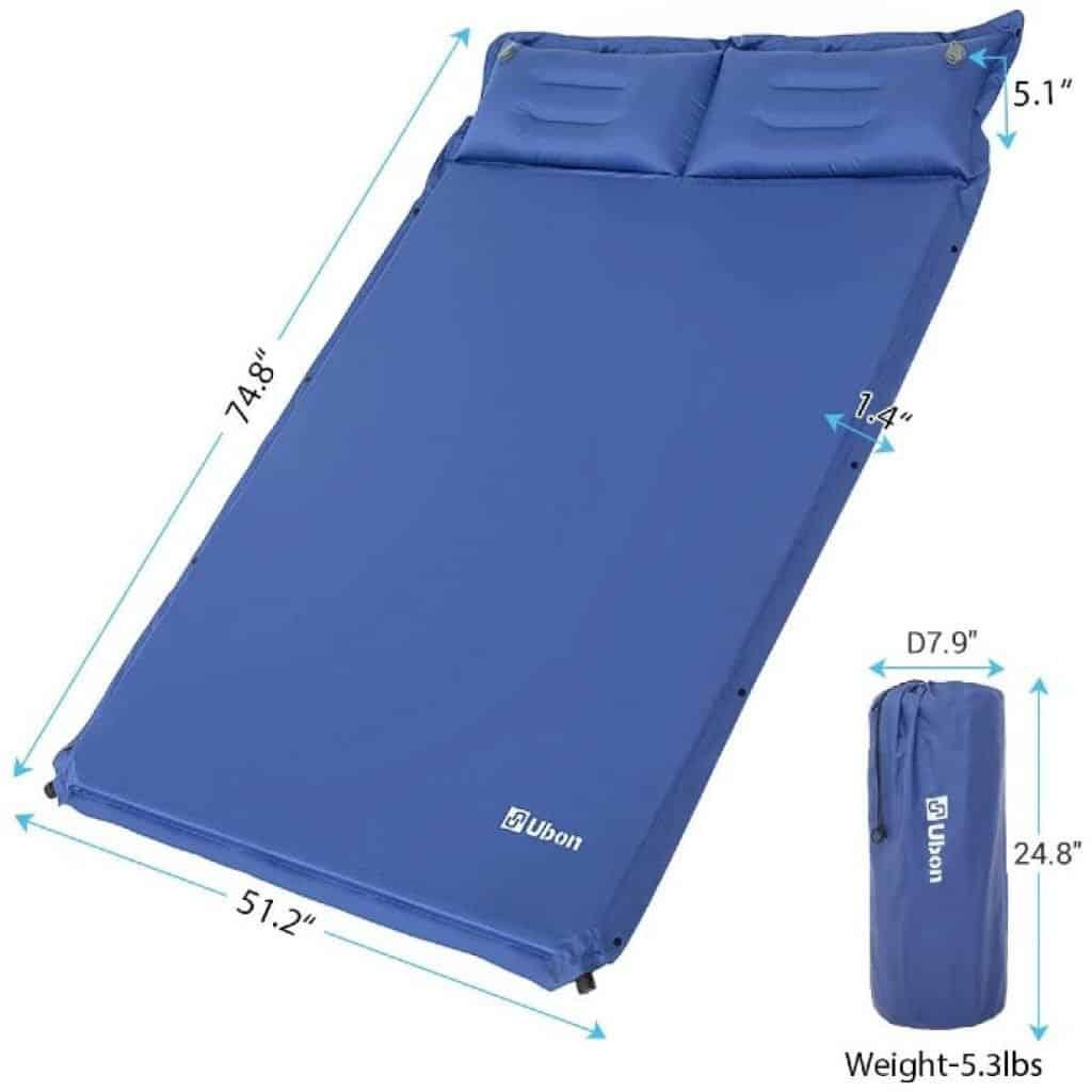 Ubon Double Self-Inflating Sleeping Pad dimensions