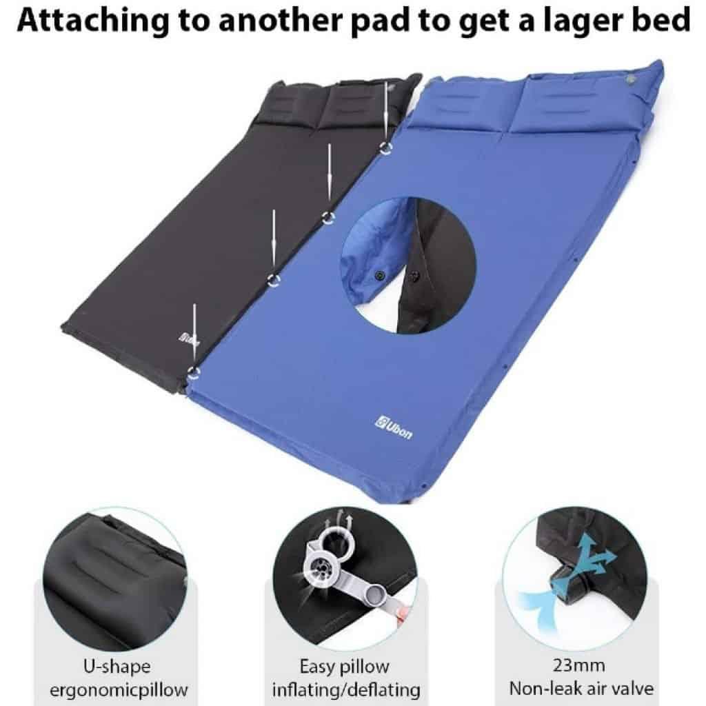 Ubon Double Self-Inflating Sleeping Pad features