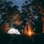 camping at night in the forest