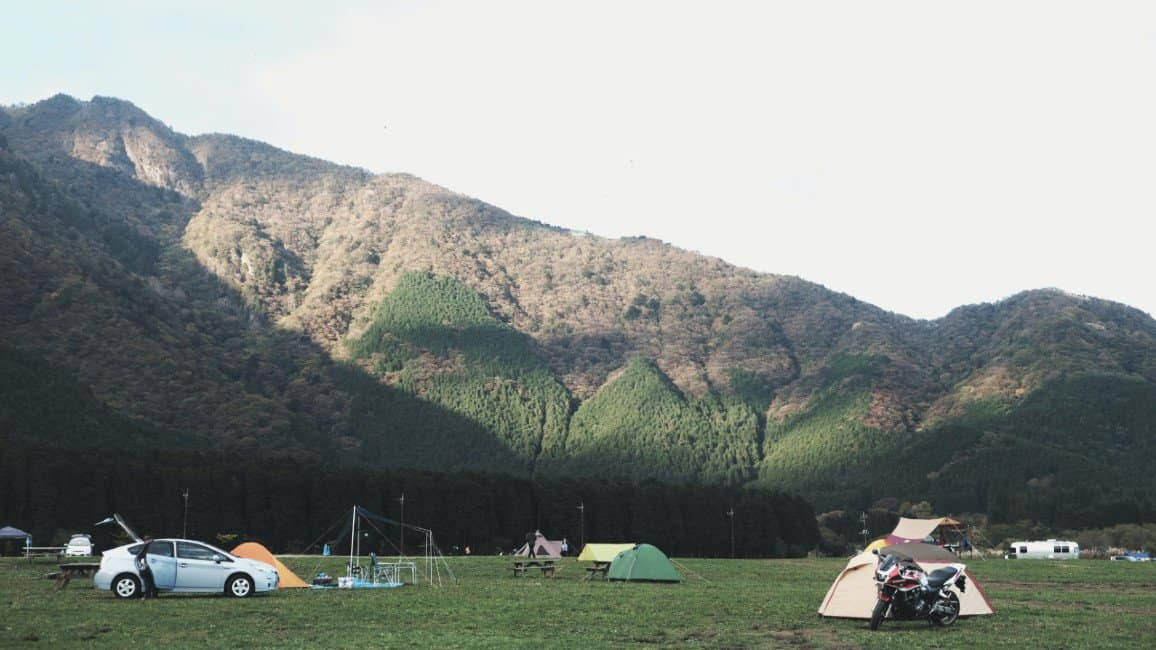 a campsite in the mountains