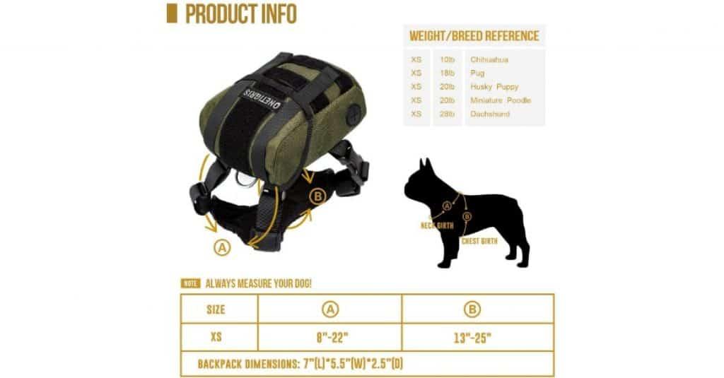 OneTigris Dog Backpack sizes