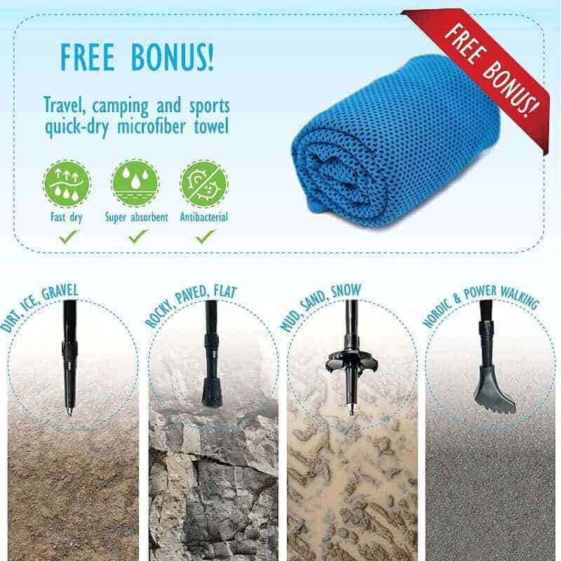Equipick trecking poles' removable tips and bonus microfiber towel