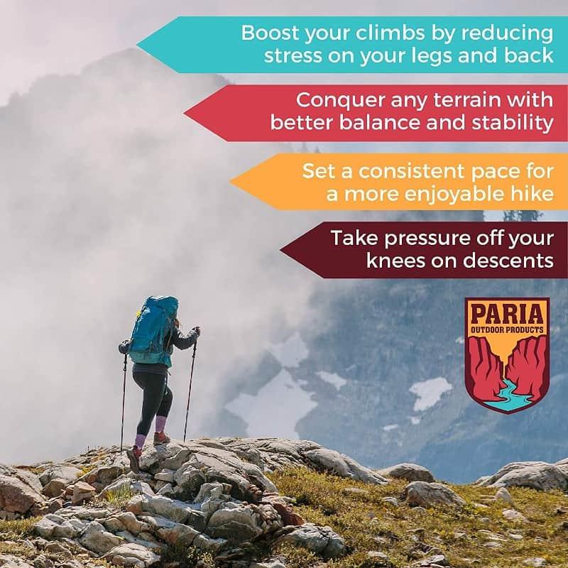 paria outdoor products tri-fold carbon cork trekking pole