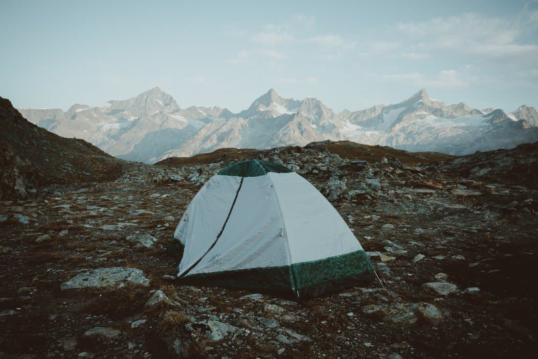 a tent high in the mountains